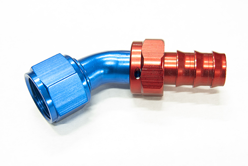 AN 6 45 Degree Push On Hose End Red & Blue